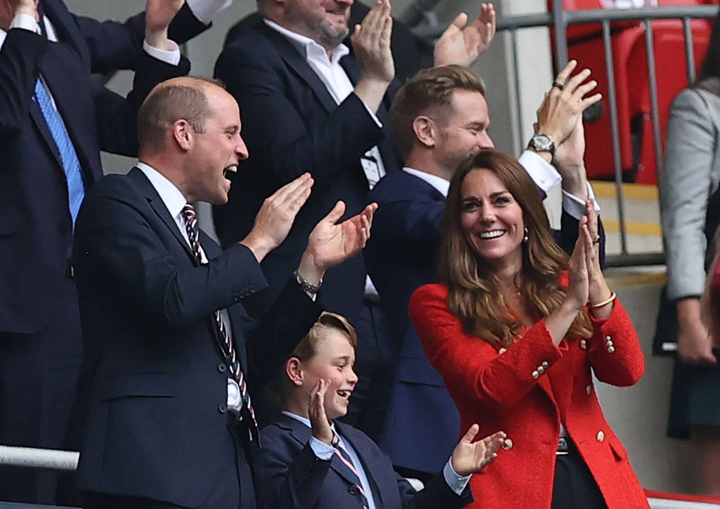 Prince George and his parents celebrate England's goal in the Euro 2020 final at Wembley
