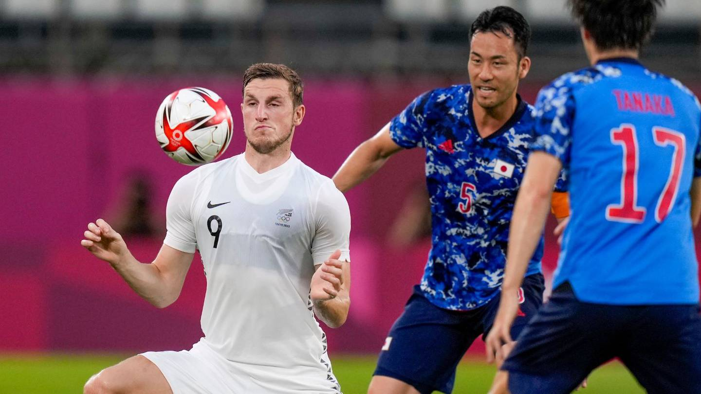 OlyWhites striker Chris Wood brings the ball under control against Japan in the quarter-finals of the Tokyo Olympics.