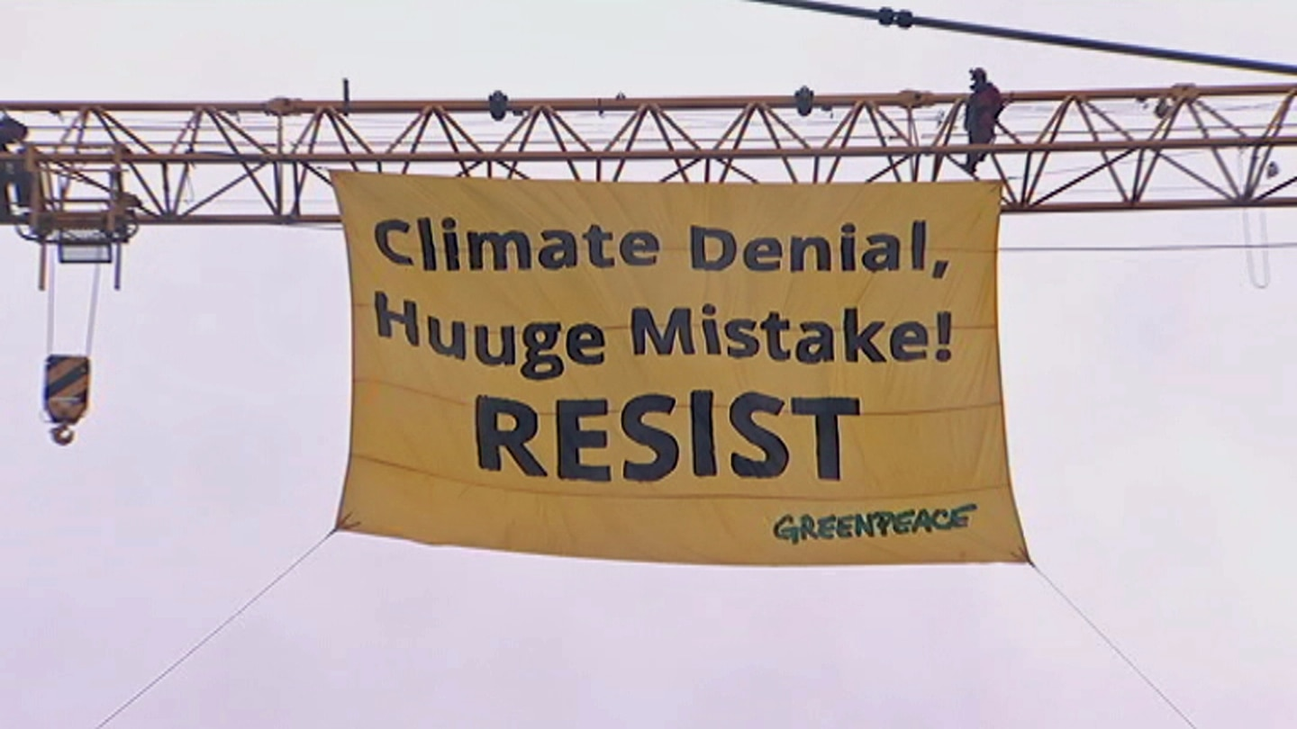 Greenpeace is protesting the Trump administrations' decision to pull out of the Paris Climate Change Agreement.