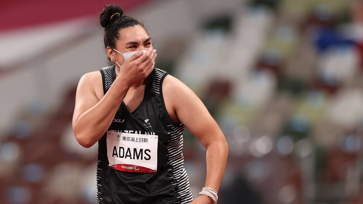 TOKYO, JAPAN - AUGUST 28: Lisa Adams of Team New Zealand reacts during the Women's Shot Put - F37 Final on day 4 of the Tokyo 2020 Paralympic Games at Olympic Stadium on August 28, 2021 in Tokyo, Japan. (Photo by Naomi Baker/Getty Images)