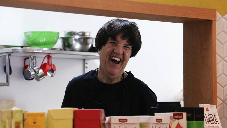 Te Tuhi Café trainee Rachel Martin from inside the kitchen.