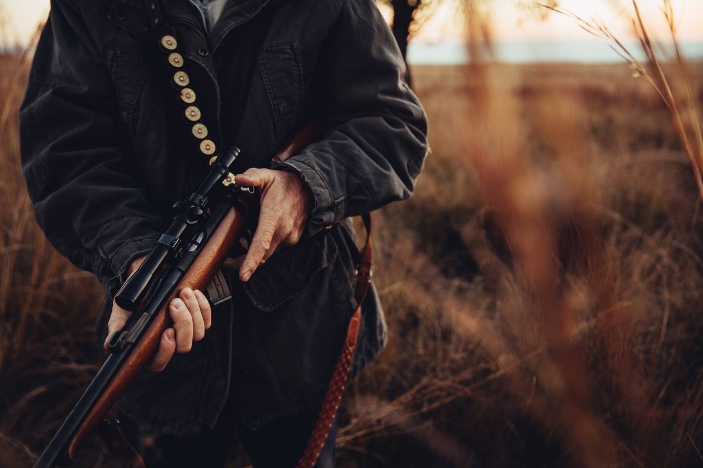 Man carrying sniper and cartridge in wilderness. Long dry grass is surrounding him.