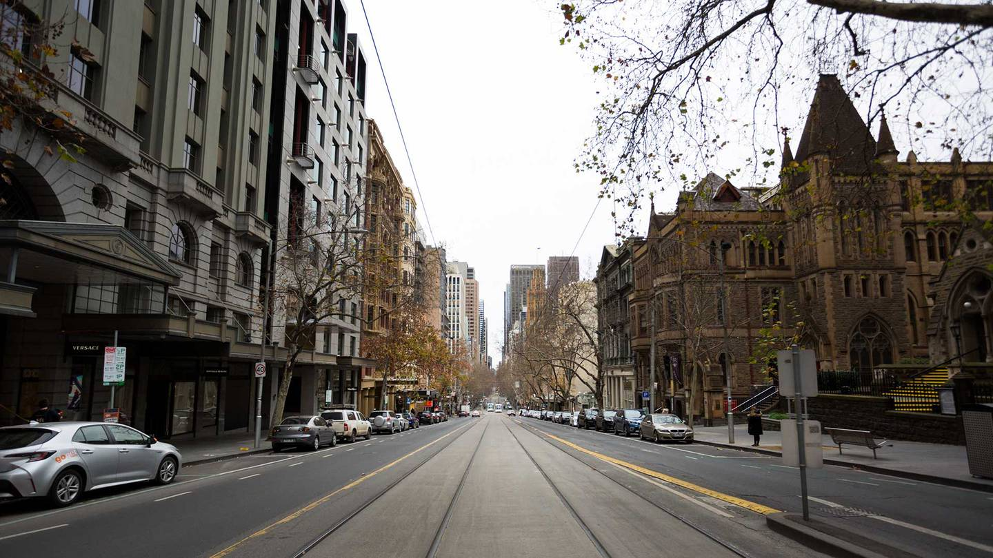 A Melbourne street seen during lockdown