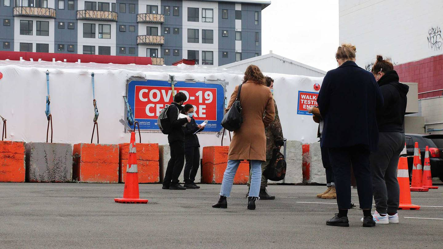 People line up for a Covid test
