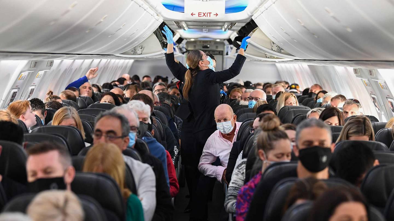 Passengers on a Qantas flight